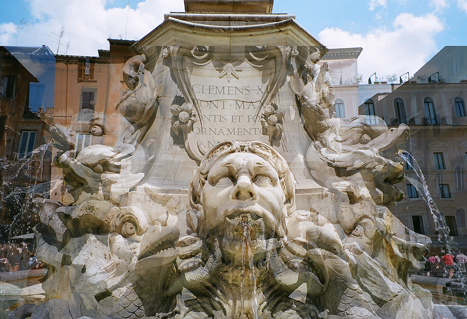 Pantheon Fountain Faces. Rome, Italy, 2008.