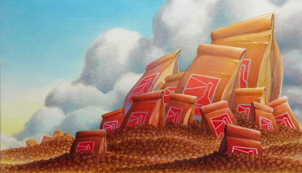 Coffee Bean Island (detail), acrylic on panel, 30 x 24 inches.  2020