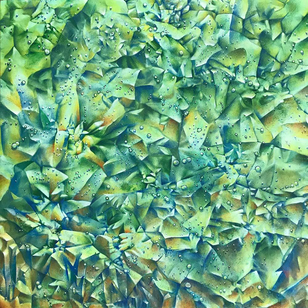 Green Crinkle Covid 24x24 acrylic on canvas 2020