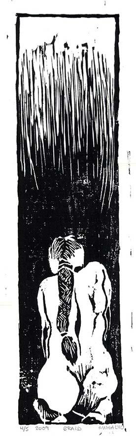Braid, woodcut print ink on paper, 20.5x.5.5, 1987