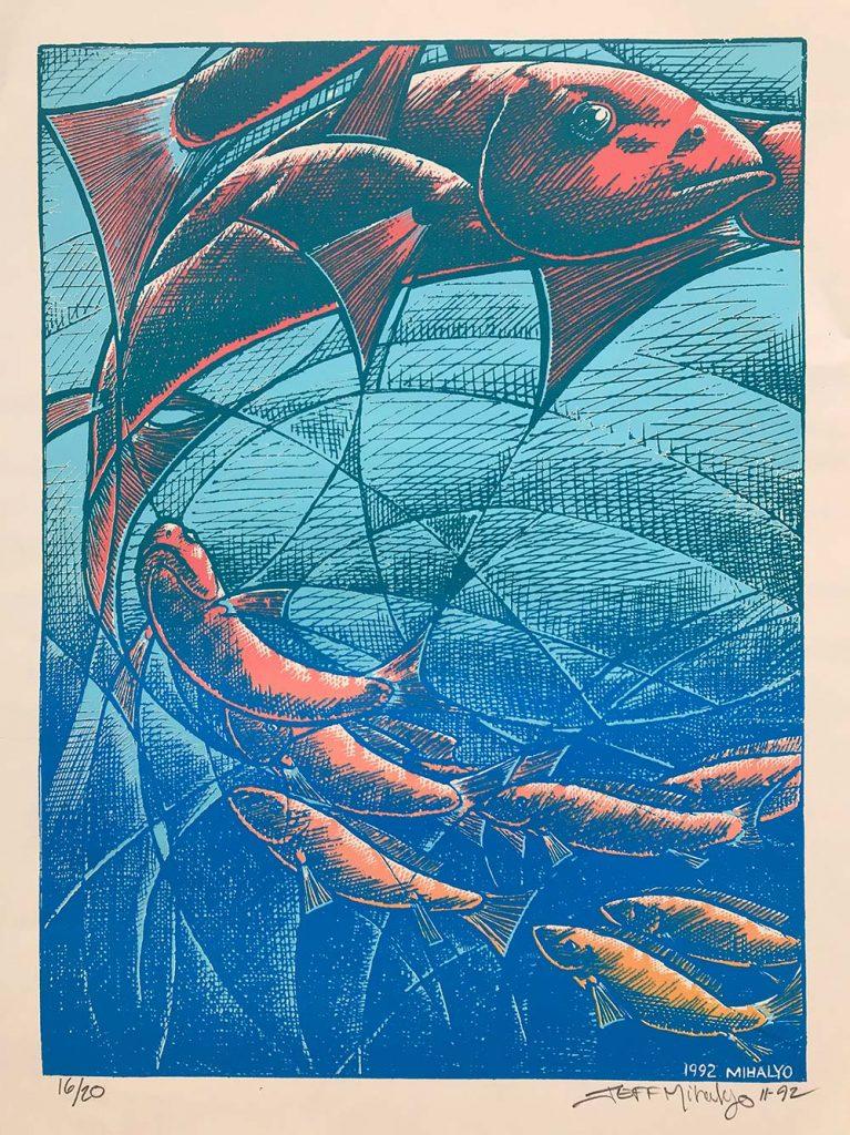 Fish, silkscreen on paper, 23×17.5, 1992