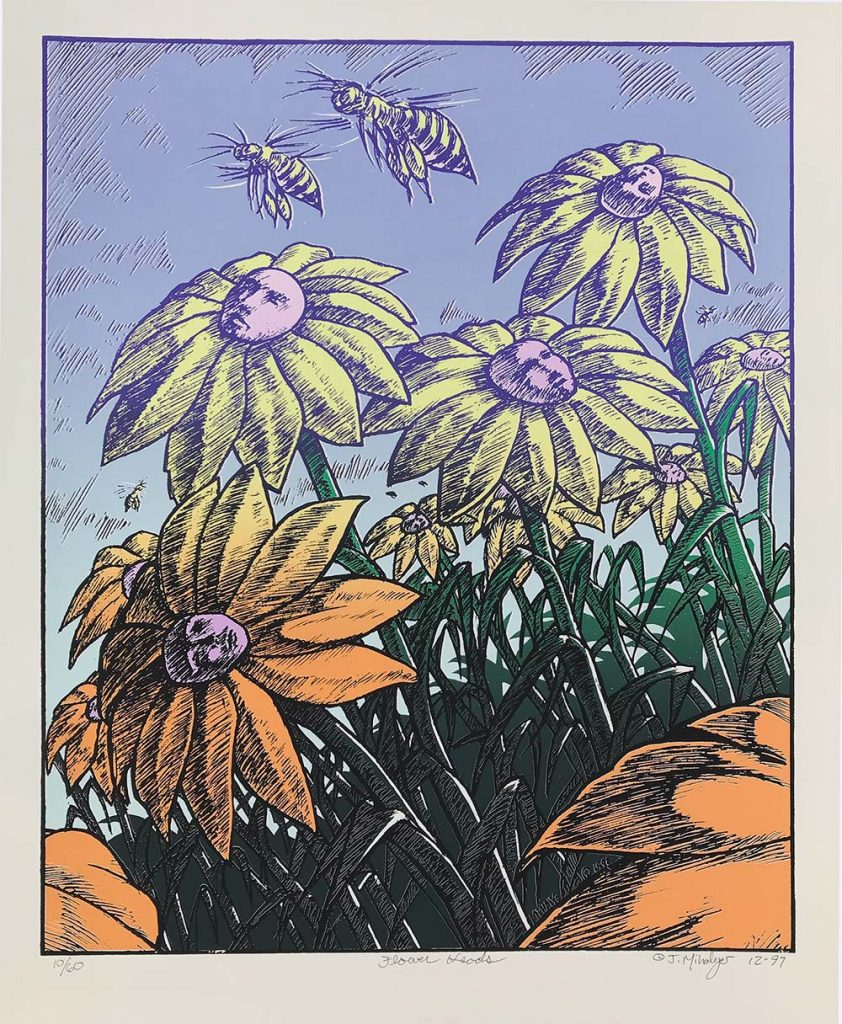 Flower Heads, Silkscreen, paper: 17.5×14.24 inches, imprint: 15.5x.12.5, 1997, edition of 60, signed & numbered