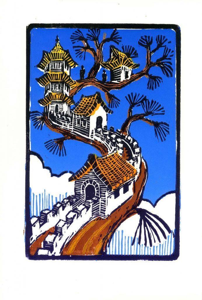 Pagoda Branch – Color woodcut print 8.75×5.75 (image area) 2010