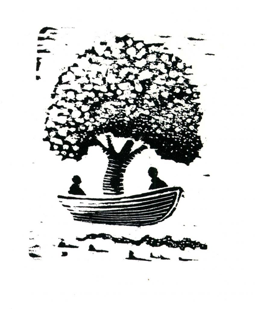 Tree Boat for Two, woodcut print, 4×3 (image area), 2009