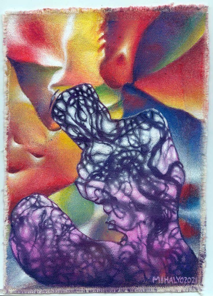 Purple Smoke Figure acrylic on canvas 9×6.5 2021