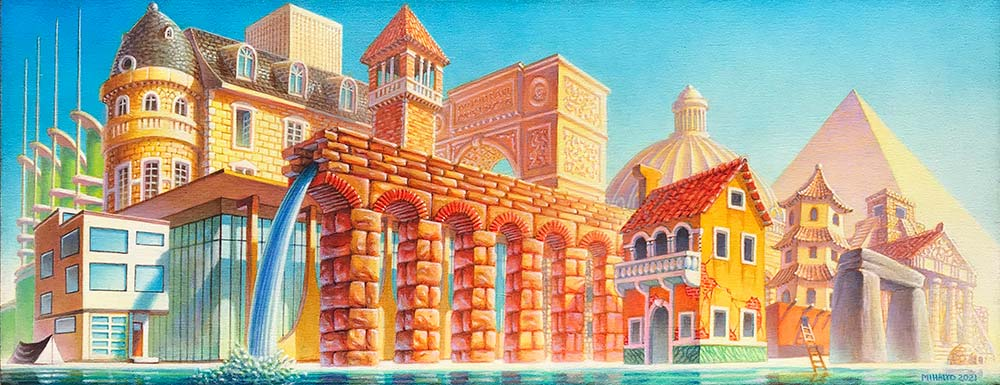 A Brief History of Architecture, acrylic on canvas, 2021
